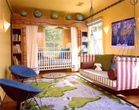idée-déco-chambre-garçon-thème-voyage-tapis-globes