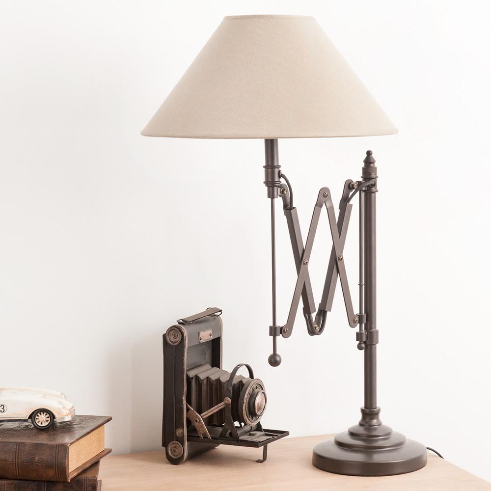 lampe de chevet accordeon en metal et abat jour en coton h. Black Bedroom Furniture Sets. Home Design Ideas